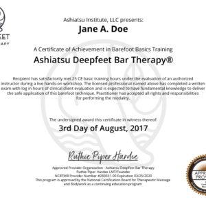 ashiatsu deepfeet bar therapy certificate diploma