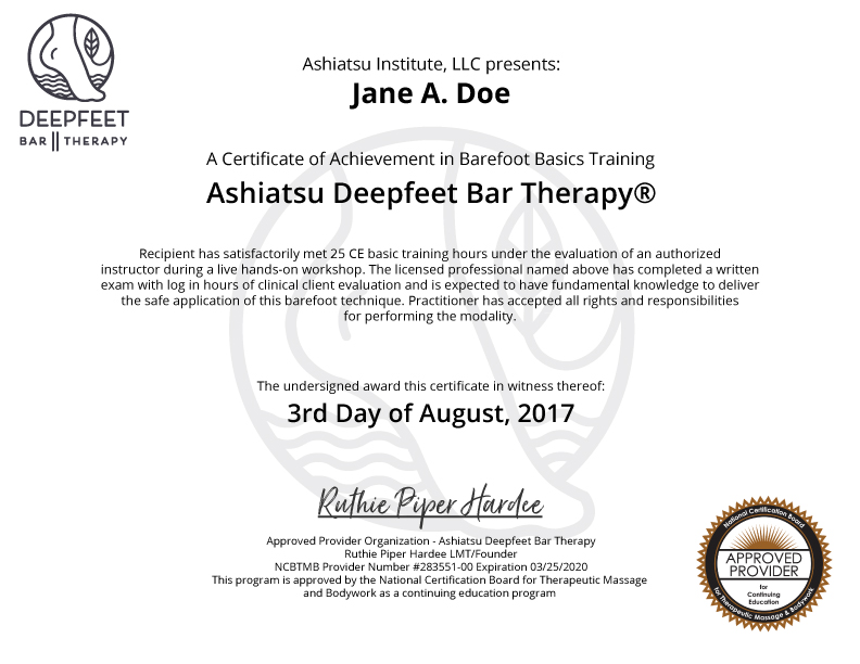 Deepfeet Certification Deepfeet Bar Therapy