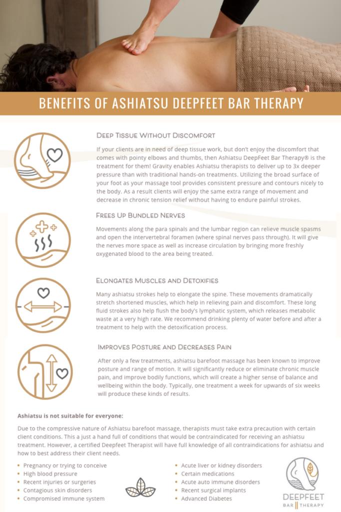 Ashiatsu Benefits Flyer - by DeepFeet Bar Therapy Barefoot Massage Training