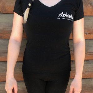 black ashiatsu therapist shirt